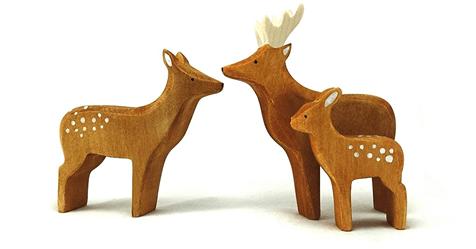 jouets en bois-brin d ours- jouets bois- biches - cerf -gnooss
