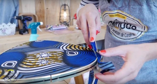 DIY WAX table vintage tissus decoupe cutter gnooss